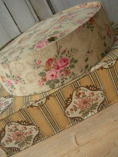 Vintage French fabric covered roses florals boudoir sewing boxes.