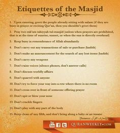 Etiquettes of the Masjid