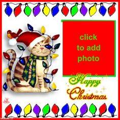 ANIMATED CHRISTMAS KITTY CAT & LIGHTS PICTURE FRAMES Christmas Kitty, Cat Light, Christmas Frames, Picture Frames, Animation, Lights, Happy, Pictures, Art