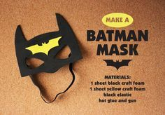 DIY craft Batman Mask - replace foam with felt Diy Batman Kostüm, Lego Batman Party, Batman And Batgirl, Batman Birthday, Superhero Party, Kids Batman Costume, Batman Crafts, Batman Halloween, Boy Birthday