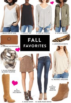 With Fall being just around the corner and fall outfits on my mind, I wanted to dedicate a post to my go-to fall favorites when it comes to putting outfits together. I tried to keep it as simple as possible and honestly, I'm already kicking myself for not including a few things BUT I think this is a pretty good list of a few of the items I tend to grab most regularly when I start dressing for cooler temps! 1. BASIC WHITE TANK – I have 3 of this same exact top because I wear it so much. I…