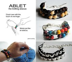 The Ablet (ABacus BraceLET) has finally arrived! I know many of you have been excited about these since the Yarn Harlotbloggedabout them in early December.I've been testing out a sample bracelet...