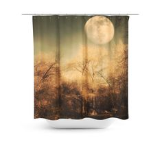Full Moon Shower Curtain Customize your bathroom decor with unique shower curtains designed by Artist Sylvia Coomes. Made from 100% polyester our designer shower curtains feature a 12 button-hole top