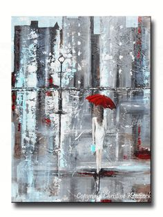 GICLEE PRINT Art Abstract Painting Girl Red Umbrella City Modern Canva – Contemporary Art by Christine #OilPaintingGirl