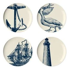 Scrimshaw Dessert Plate (Set of 4) by Thomas Paul. $36.00. TP37 Features: -Art practiced by sailors on whaling ships out at sea.-Material: Melamine.-Dishwasher safe. Dimensions: -Overall dimensions: 9'' W x 9'' D.