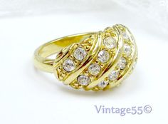 Vintage Ring Rhinestone Avon size 8  plus by Vintage55 on Etsy, $12.00