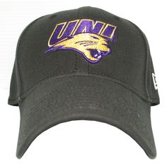 New Era black at with UNI logo in purple/gold. $21.99