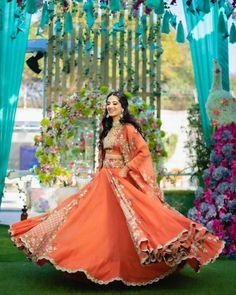 Orange Lehenga, Pink Lehenga, Bridal Lehenga, Lehenga Saree, Desi Wedding, Wedding Looks, Wedding Wear, Wedding Bride, Mehendi Outfits