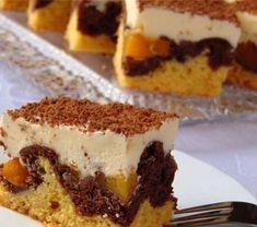 Cookit - przepis na Fale Dunaju z brzoskwiniami. Polish Recipes, Tiramisu, Sweet Tooth, Ethnic Recipes, Salads, Cook, Pies, Cake, Tiramisu Cake