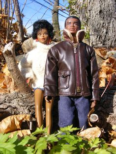 African American Male Dolls   This is Brad and Black Barbie out for a nice walk.