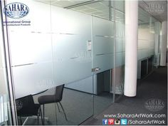 Office door and partitions, made from clear glass and sandblasted stripes,  with ROYAL° handles and accessories.