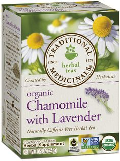 Chamomile with Lavender - Traditional Medicinals to help soothe you to sleep or relax your tense nerves