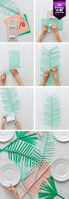 The best DIY projects & DIY ideas and tutorials: sewing, paper craft, DIY. Diy Crafts Ideas DIY paper palm leaf runner from Martha Stewart Crafts -Read Kids Crafts, Diy And Crafts, Craft Projects, Arts And Crafts, Tree Crafts, Kids Diy, Diy Flowers, Paper Flowers, Paper Leaves