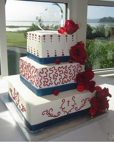 July 4th Wedding cake. love it minus the red pattern in middle and top layer.