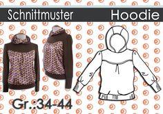 Schnittmuster + Anleitung Hoodie GR:34-44