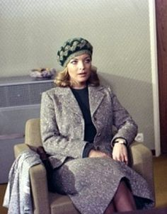 "Knit cap with tweed suit, Romy in ""Les innocents aux mains sales"""
