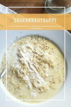 Ein Klassiker im neuen Gewand. Sauerkraut als Suppe? Klingt seltsam, schmeckt aber. #vegan #veganfood #food #delicious #lecker #rezept #rezepte #vegetarisch #soup #sauerkraut #vegetarian #foodblogger #suppe #veganismus #foodblog #recipe #recipes #veganere Gluten Free Sweets, Gluten Free Recipes, Vegan Recipes, Sauerkraut, Good Food, Yummy Food, Detox Soup, Vegan Soups, Food Videos
