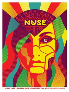 Original silkscreen concert poster for Muse at Osheaga Music and Arts Festiva in Montreal Canada in 2017. 18 x 24 inches. Signed and numbered Limited Edition of only 165 by the artist Dan Stiles.