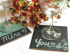 As much as I love to have friends over for drinks, I hate the horrible ring marks left on my wooden table from all the glasses. Coasters are an easy answer but then I wanted to give them a fun party twist, so a quick DIY led me to these chalkboard coasters. Use them to mark your drinks or convert them into a party game. They make great gifts too! Here's a four-step guide to making these super cute chalkboard coasters.