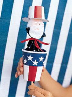 Craft: Uncle Sam hand puppet. Write a script for Uncle Sam to share the history of the holiday to share with family or guests.
