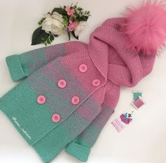 This Pin was discovered by Еле Knitting For Kids, Crochet For Kids, Baby Knitting, Crochet Baby Poncho, Crochet Coat, Baby Boy Cardigan, Baby Pullover, Baby Summer Dresses, Diy Bebe