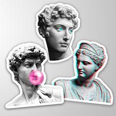 Aesthetic Statue, David, Vaporwave, Decals, Bee, Laptop, Notebook, Stickers, Group