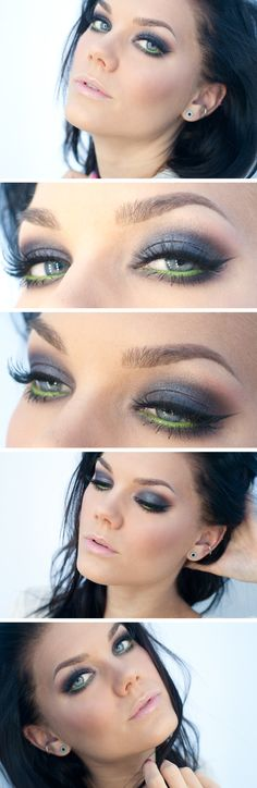 "Today's Look : "" smokey eyes with a twist"" -Linda Hallberg (pop of lime in an otherwise regular smokey eye) 03/25/13"