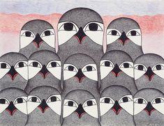 Conference of Owls medium: ink and colored pencil - by Kenojuak Ashevak, Inuit artist. Shown at Spirit Wrestler Gallery, Vancouver BC Arte Inuit, Inuit Art, Spirited Art, Canadian Art, American Indian Art, Bird Drawings, Indigenous Art, Art Themes, Owl Art