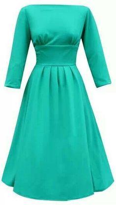 Simple long sleeve aqua dress