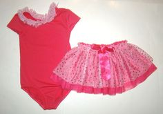 Childrens Place Pink Heart Leotard Dance Ballet Tutu Tulle Skirt Girl M 7 8 EUC