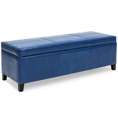 Best Choice Products Upholstered Leather Storage Ottoman Bench (Blue)