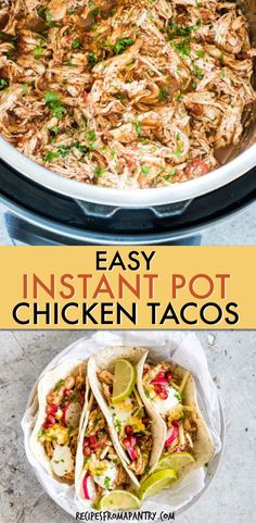 These tasty Instant Pot Chicken Tacos are amazing!! They're fresh, flavourful and so easy to make with pantry ingredients thanks to the Instant Pot. You'll make Instant Pot shredded chicken, then load your chicken tacos with your favourite toppings. This Mexican recipe is great for meal prep, dinner, lunches, taco tuesdays and is freezer friendly. This is a must-make Instant Pot tacos recipe! #instantpot #instantpotrecipes #instantpotchickentacos #instantpottacos #tacos #chicken Lunch Recipes, Supper Recipes, Mexican Food Recipes, Breakfast Recipes, Ethnic Recipes, Crispy Chicken Recipes, Shredded Chicken Tacos, Instant Pot, Recipes For Beginners