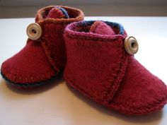 Upcycled Felted Sweater Baby Booties by anniestoo.  So cute!