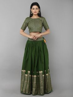 Green Cotton Floral Printed Lehenga with Unstitched Green Blouse - Set of 2