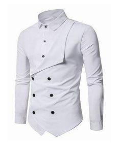 GRMO Men Mid Length Long Sleeve Plus Size African Print Stand Collar Dress Shirt Top