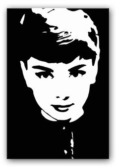 AUDREY HEPBURN - BLACK AND WHITE Movie Pop Art print and Movie Art on gallery-wrapped frames ready to hang Delivered Free to your door with a full Money-Back Guarantee