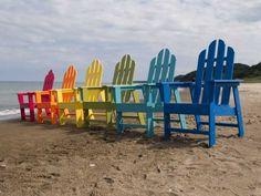 Rainbow Adirondack chairs
