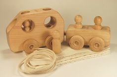 Wood Toy Car and Trailer - Personalized and  Organic by treewoodworks on Etsy, $38.00