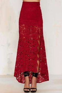 Cut to the Lace Maxi Skirt - Burgundy | Shop Clothes at Nasty Gal!