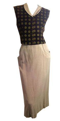 Chocolate Velvet Vest and Fawn Wool Pencil Skirt Set circa 1940s - Dorothea's Closet Vintage