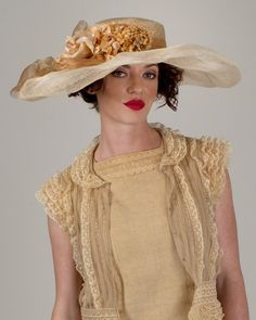 Lexie, desert sand/natural with peach, parisisal crown & sinamay brim hat with vintage flower grouping