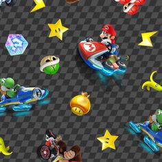 """Nintendo Fabric: Nintendo Super Mario Game - Racing Car Characters with checker background 100% cotton fabric by the yard 36""""x43"""" (A254) by Angelfabric on Etsy"""