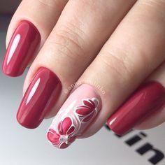 Elegant Gel Nail Art Designs for 2019 - Spring Nails Gel Nail Art Designs, Pedicure Designs, Nails Design, Red Nails, Hair And Nails, Cute Nails, Pretty Nails, Flower Nails, Nail Flowers