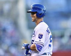Kansas City Royals' Whit Merrifield smiles after reaching base on a leadoff single in the first inning during Wednesday's baseball game against the Cleveland Indians on June 15, 2016 at Kauffman Stadium in Kansas City, Mo.