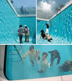 Fake Swimming Pool installation by Leandro Erlich at the 21st Century Museum of Art in Kanazawa Japan