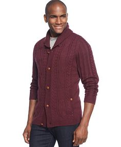 Tasso Elba Wool Blend Cable-Knit Shawl-Collar Cardigan