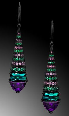 Asteria Earrings are dazzling and dramatic, featuring a suite of royal purple garnet and green tourmaline cut by master lapidary Stephen Avery. Tourmaline Jewelry, Druzy Jewelry, Garnet Jewelry, Garnet Earrings, Green Tourmaline, Crystal Earrings, Jewelry Art, Fine Jewelry, Jewelry Design