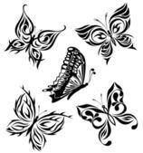 Conjunto pretas borboletas brancas de uma tatuagem — Ilustração de Stock #4817471