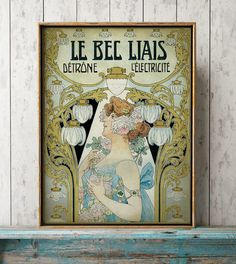 Art Nouveau POSTER, Vintage ELECTRICITY ad Print, Floral Woman Graphic Art, Vintage Advertisement, French Paris Art 12 x 16 in