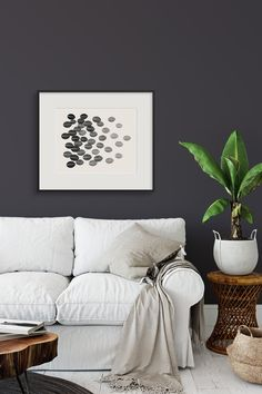 Dark walls can actually make a room seem brighter. On a dark day, dark paint may be your best friend, making all your colors and art pop. Living Room Designs, Living Rooms, Peace Art, Pastel Palette, Black And White Prints, Dark Walls, Art Pop, Household, New Homes